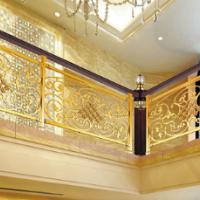 铜楼梯护栏欧式雕花板电镀K金出口室内楼梯扶手栏杆厂家加工定制