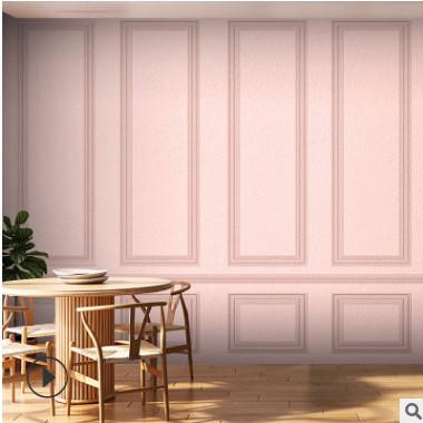 北欧式线条公主房间装饰卧室女粉色墙纸直播网红奶茶店背景墙壁纸
