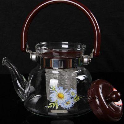精选泡茶壶玻璃高硼硅玻璃广州PP塑料手柄茶具套装光波炉电陶炉明火加热 玻璃茶具高硼硅耐热硅酸盐不锈钢滤网提梁壶泡茶壶