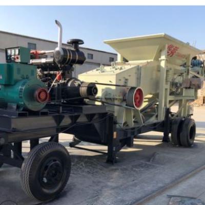 移动式鹅卵石重型制砂机矿山石头锤式破碎机建筑垃圾箱式粉碎机